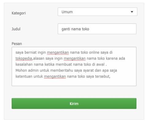 contoh halaman kontak tokopedia untuk mengajukan pengantian nama toko