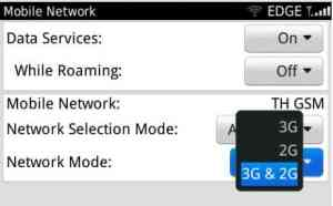 cara pilih mode jaringan 2G dan 3G manual di blackberry
