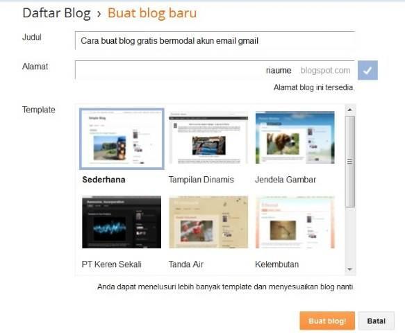 langkah cara membuat blog gratis blogger gmail -image