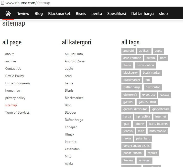 Navigasi halaman sitemap