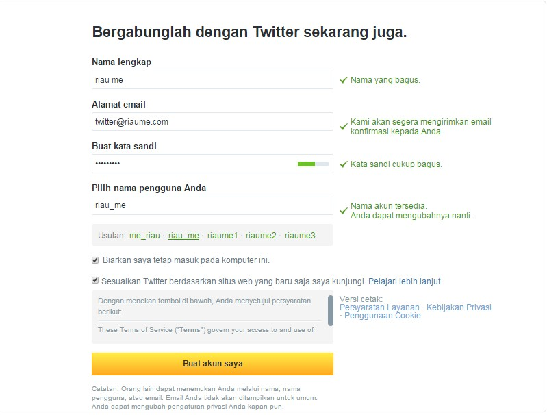 cara daftar twitter - image