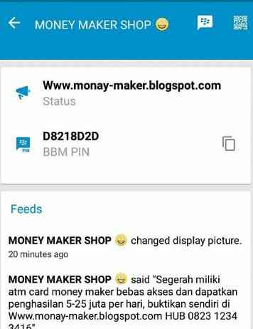salah satu pin bbm money maker penipuan terbaru