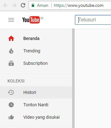 cara menghapus history atau riwayat youtube via pc