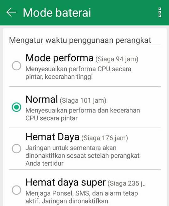 fungsi mode hemat baterai android
