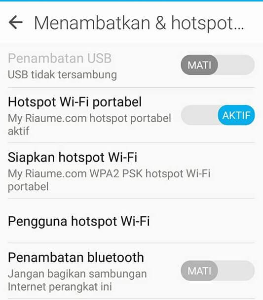 settings hotspot wifi hp android