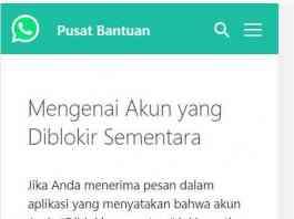 Penyebab akun whatsapp diblokir sementara atau banned terbaru
