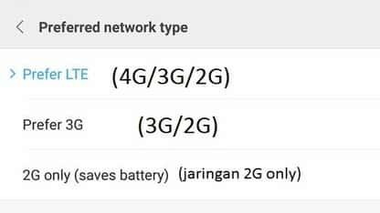 cara atur mode jaringan internet hp xiaomi