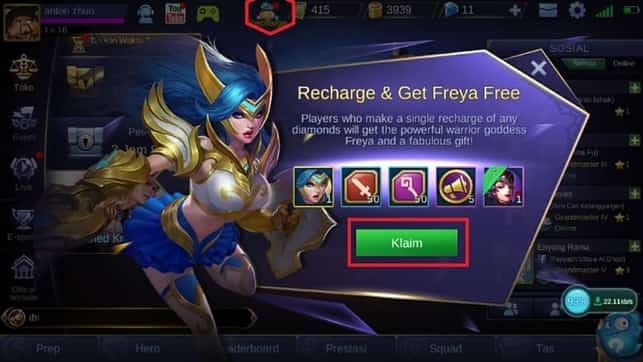 cara klaim hadiah top up mobile legends