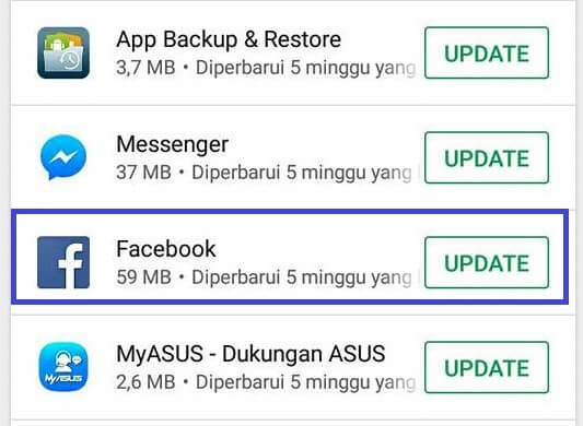 cara memperbarui facebook di android play store