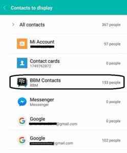 cara menampilkan seluruh kontak bbm yang tersimpan di buku telepon xiaomi