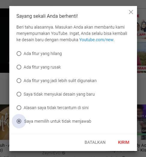 cara mengembalikan tampilan youtube ke versi sebelumnya di komputer