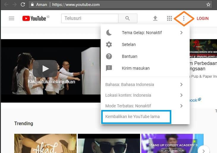 cara mengembalikan tampilan youtube ke versi sebelumnya tanpa log in