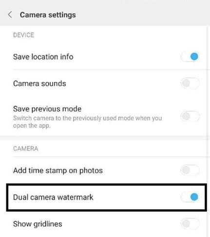 cara nonaktifkan watermark dual camera pada hp xiaomi