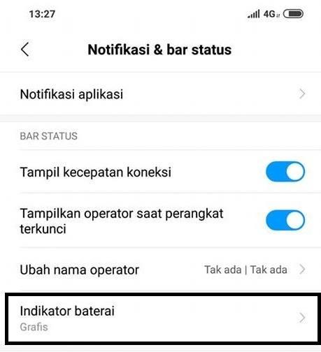 cara rubah tampilan status bar baterai pocophone dari grafis ke persentase