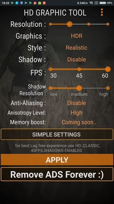 cara settings grafik 60 fps dari aplikasi hd graphic tool android