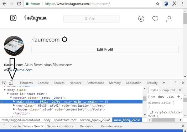 cara upload foto di instagram lewat google chrome pv