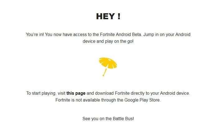 contoh email iQnvite fortnite beta untuk android