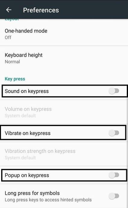 menghilangkan suara dan getar keyboard
