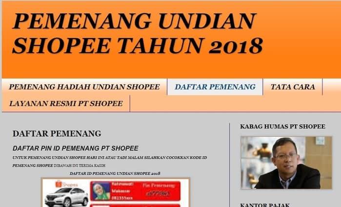 Modus Penipuan Pemenang Undian Shopee Terbaru Juli 2020