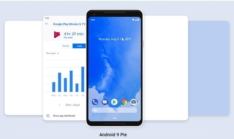 os android versi 9 di kenal dengan nama android pie
