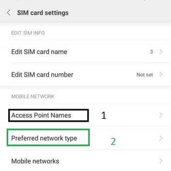pengaturan sim card untuk menambah apn dan atur mode jaringan pada hp android xiaomi