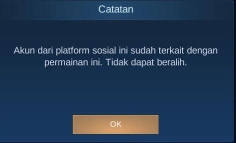 solusi Akun dari platfom sosial ini sudah terkait dengan permainan ini.Tidak dapat beralih