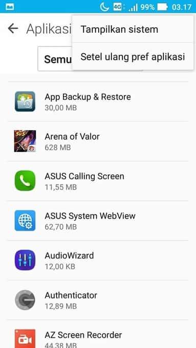 tampilkan aplikasi sistem atau aplikasi bawaan android di manager aplikasi