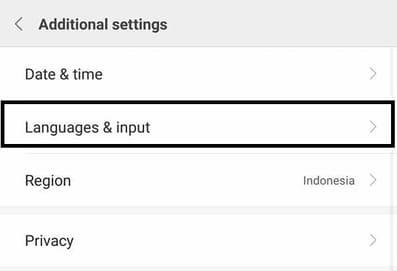 tempat settings bahasa dan keyboard pada hp xiaomi